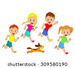 children boys girls and dog... | Shutterstock .eps vector #309580190