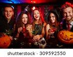 friends resting in nightclub at ... | Shutterstock . vector #309592550