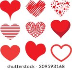 vector hand drawn hearts set | Shutterstock .eps vector #309593168