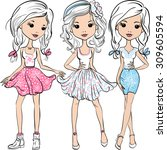 vector set cute smiling fashion ... | Shutterstock .eps vector #309605594
