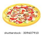 isometric icon of italian pizza