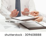 boss rejecting to sign a... | Shutterstock . vector #309608888