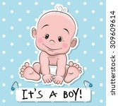 greeting card it's a boy with... | Shutterstock .eps vector #309609614