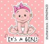 greeting card it's a girl with... | Shutterstock .eps vector #309609620