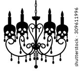 Chandelier With Skulls Isolate...