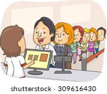 illustration of a long line of... | Shutterstock .eps vector #309616430