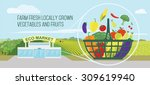 organic food from eco market... | Shutterstock .eps vector #309619940