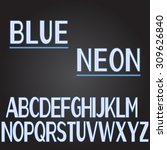 blue neon font with black... | Shutterstock .eps vector #309626840