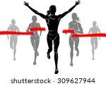 women marathon winner | Shutterstock .eps vector #309627944