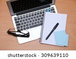 office table with laptop ...   Shutterstock . vector #309639110