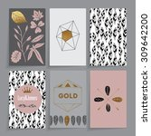 floral wedding card. modern... | Shutterstock .eps vector #309642200