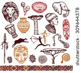 africa doodle icons set with... | Shutterstock .eps vector #309644378