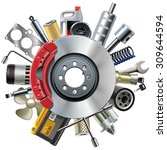 vector car spares concept with... | Shutterstock .eps vector #309644594