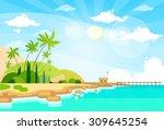 tropical beach island palm tree ... | Shutterstock .eps vector #309645254