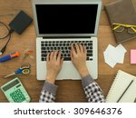 designer  using laptop computer ... | Shutterstock . vector #309646376