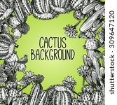 Black And White Sketch Cactus...