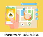 mobile taxi application.... | Shutterstock .eps vector #309648758