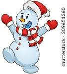 happy cartoon snowman. vector... | Shutterstock .eps vector #309651260