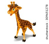 happy cartoon giraffe. vector... | Shutterstock .eps vector #309651278