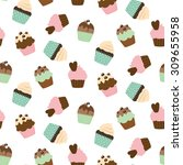 cupcake vector pattern. cute... | Shutterstock .eps vector #309655958