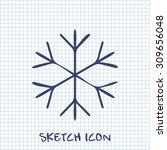 xmas vector sketch icon of snow  | Shutterstock .eps vector #309656048