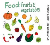food  fruits and vegetables ...   Shutterstock .eps vector #309660839