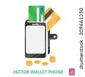 vector phone wallet with credit ...   Shutterstock .eps vector #309661250