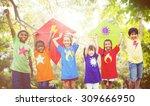 children flying kite playful... | Shutterstock . vector #309666950