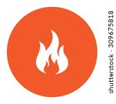fire. flat white symbol in the... | Shutterstock .eps vector #309675818