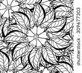seamless contour floral pattern.... | Shutterstock .eps vector #309677303