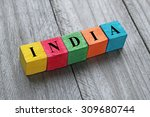 word india on colorful wooden... | Shutterstock . vector #309680744