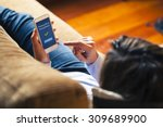 woman using on line banking on... | Shutterstock . vector #309689900