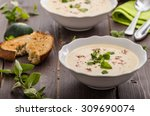 creamy zucchini soup with... | Shutterstock . vector #309690074