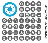 photography icons set.... | Shutterstock .eps vector #309696089