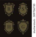 set of luxury premium stylish... | Shutterstock .eps vector #309706730