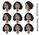 set of variation of emotions of ... | Shutterstock .eps vector #309707813