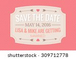 wedding invitation card on... | Shutterstock .eps vector #309712778