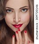 beautiful woman young model... | Shutterstock . vector #309720146