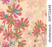 summer flowers seamless... | Shutterstock . vector #309722648