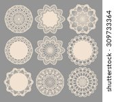 Round Lace Napkins. Vector...