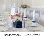 wedding table with bouquet of... | Shutterstock . vector #309737990