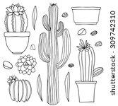 Cacti Hand Drawn Sketch Set ...
