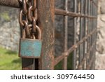 the lock on the chain. old...