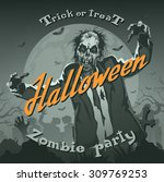 retro halloween background with ... | Shutterstock .eps vector #309769253