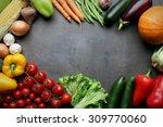 fresh vegetables on grey... | Shutterstock . vector #309770060