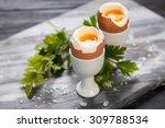 Fresh Boiled Eggs On Marble...