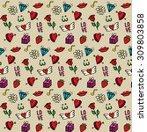 love seamless pattern with... | Shutterstock . vector #309803858