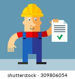 workman  holding  check list.... | Shutterstock .eps vector #309806054