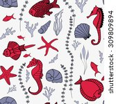 seamless pattern with hand... | Shutterstock .eps vector #309809894