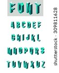 set of isometric glass font | Shutterstock . vector #309811628